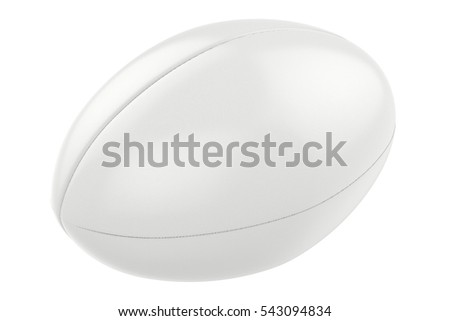 3d rendering white rugby ball isolated on white