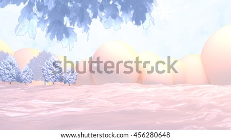 3d rendering winter snow background. Snowflakes, clouds, trees and leaves. - stock photo
