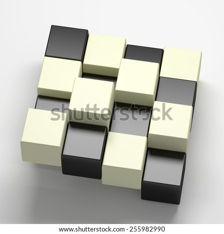 3d rendering with black and white cubes - stock photo