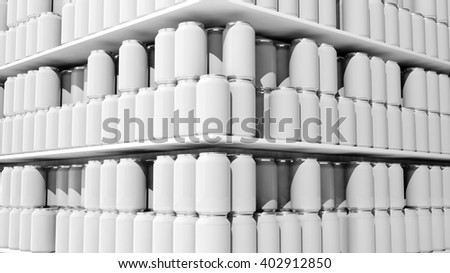 3D rendering with closeup on supermarket shelves with blank templates cans. - stock photo