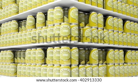 3D rendering with closeup on supermarket shelves with lemon drink cans. - stock photo