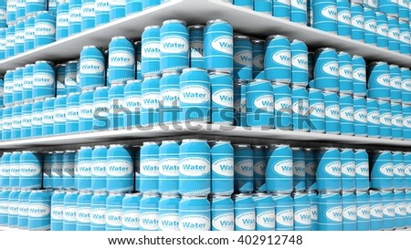 3D rendering with closeup on supermarket shelves with water cans. - stock photo