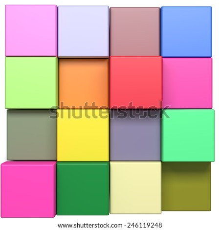 3d rendering with cubes of a lot of colors - stock photo
