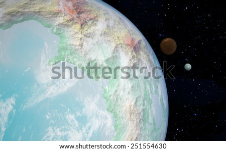 3D rendering with 1 Earth like planet in deep space with two orbiting moons - stock photo