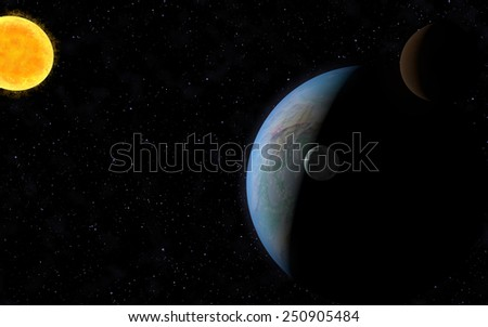 3D rendering with 1 Earth like planet in deep space with two orbiting moons and one sun. - stock photo