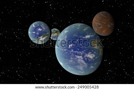 3D rendering with 3 Earth like planets in deep space with an orbiting brown moon - stock photo