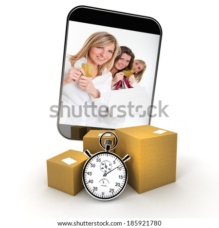 3D rendering with home delivery while ordering from a mobile device - stock photo