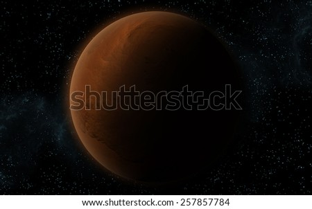 3D rendering with 1 Mars like planet in deep space. Sci-fi fantasy image of a new planet and space. - stock photo
