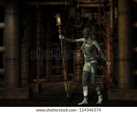 3D Rendering Woman in steampunk look with lamp - stock photo