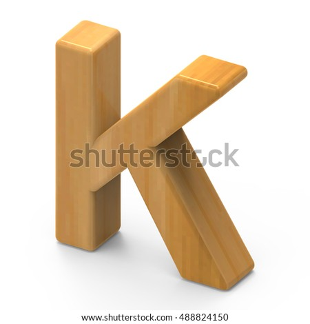 3D rendering wooden grain letter K isolated on white background, light brown wooden grain, right side top view font