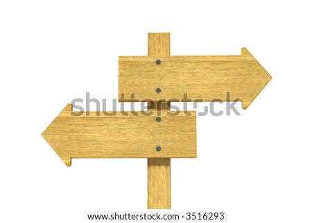 3d rendering wooden pointer on white background