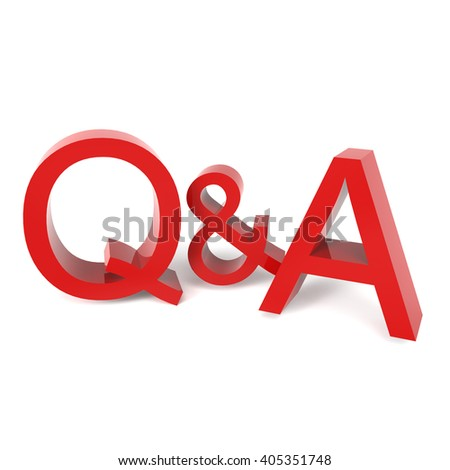 3D rendering word - Q and A isolated on white background - stock photo