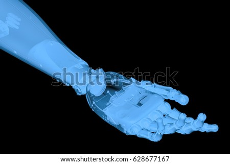 3d rendering x ray robotic hand with hand palm open isolated on black