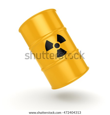 3D rendering yellow barrel with radioactive materials