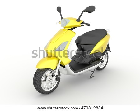 3D rendering yellow black scooter isolated white background.