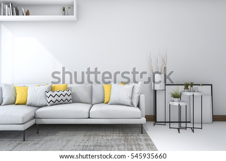 3d Rendering Yellow Sofa In White Living Room With Beautiful Decor Part 62