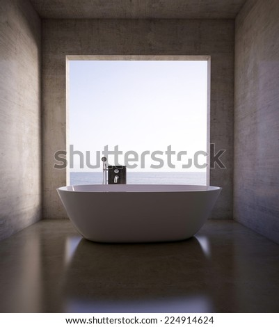 3D renderings. Bathroom interior - stock photo