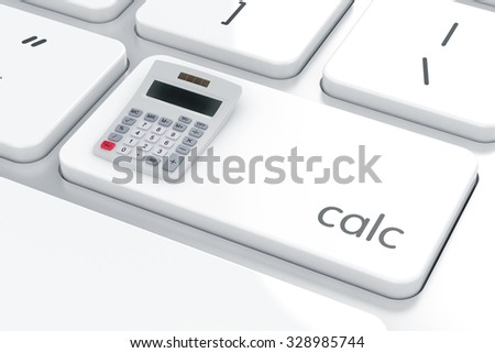 3d renderng of calculator on the computer keybord. Calculation concept - stock photo