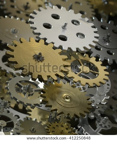 3D renderting Metal collage of gears isolated on gray background - stock photo