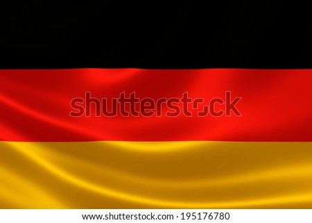 3D rendition of Germany's national flag on silky textile texture. - stock photo