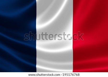 3D rendition of the flag of France on silky textile texture - stock photo