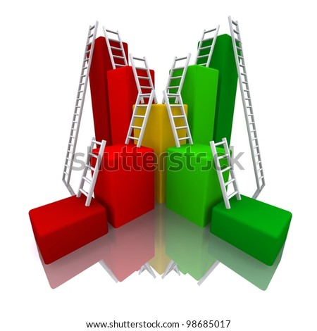 3D rendred Color bar graph with ladder