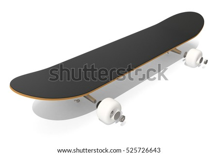 3d rendring disassembled schematic skateboard on white background