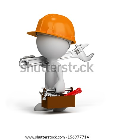 3d repairman is going to do their job. 3d image. White background. - stock photo