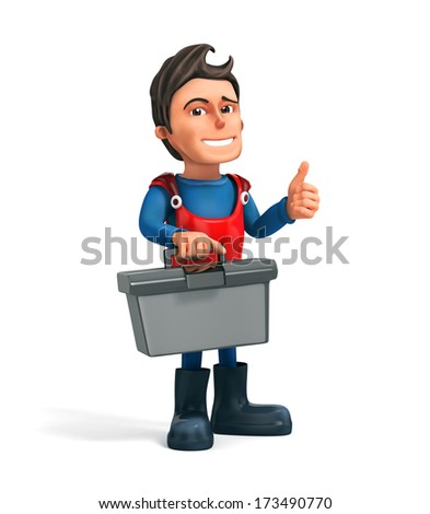 3d repairman with tool bag - isolated - stock photo