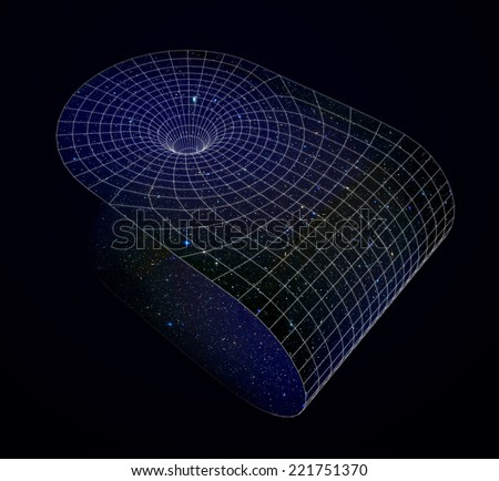 3D representation of a wormhole - stock photo