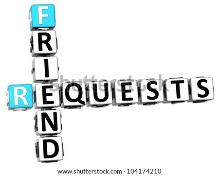 3D Requests Friend Crossword on white background