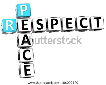 3D Respect Peace Crossword on white background