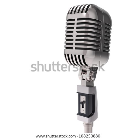 3d Retro microphone. isolated on white with clipping path - stock photo