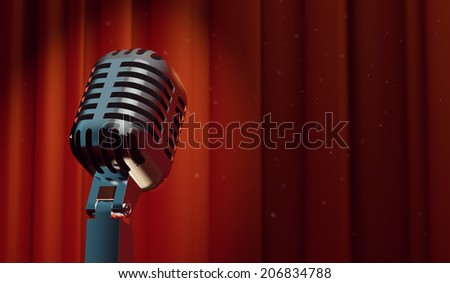 3d retro microphone on red curtain background, with magical particles in the air   - stock photo