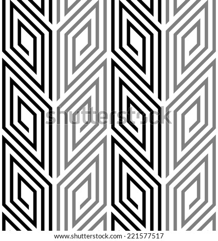 3D Rhombus Spirals Geometric Optical Black and White Seamless Pattern