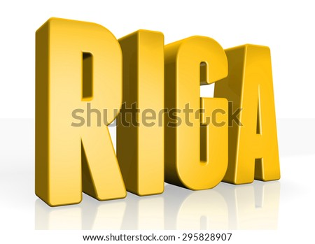 3D Riga text on white background
