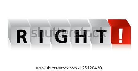 3D Right Block Cube text illustration design over white - stock photo