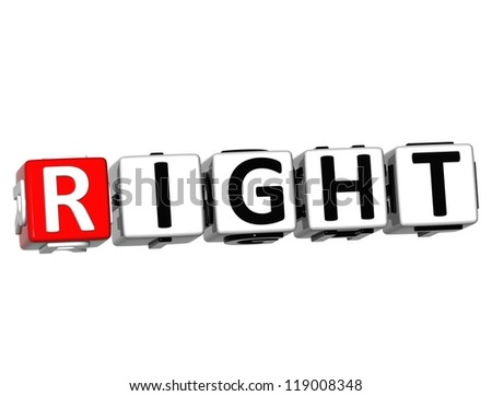 3D Right Button Click Here Block Text over white background - stock photo
