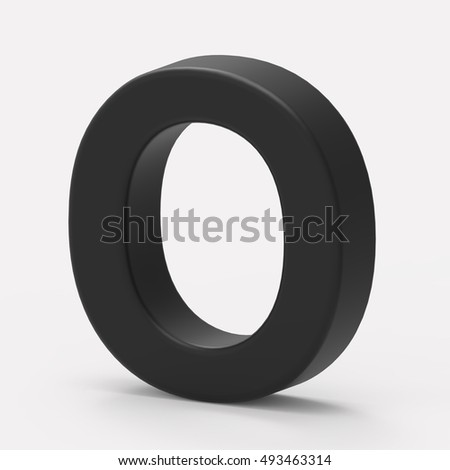 3d right leaning black letter O, 3D rendering graphic isolated white background