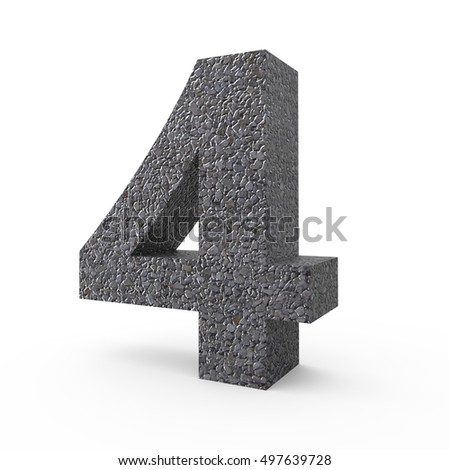 3d right leaning Gravel number 4, 3D rendering graphic isolated white background