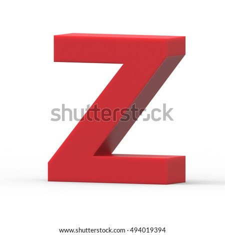 3d right leaning red letter Z, 3D rendering graphic isolated white background