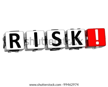 3D Risk Block Text  on white background - stock photo