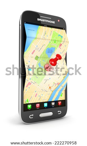 3d road map in smartphone, isolated white background, 3d image - stock photo