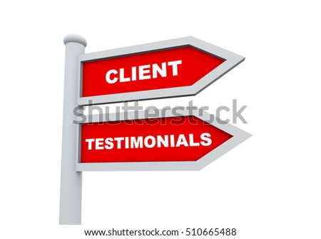 3d road sign of text client testimonials