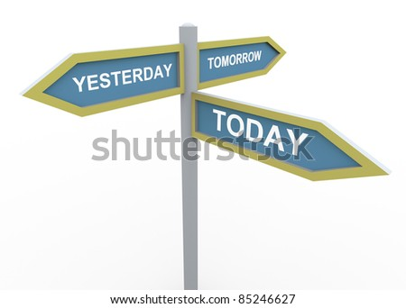 3d road sign of text tomorrow, yesterday and today - stock photo
