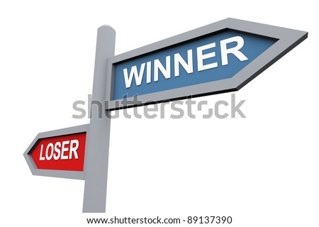 3d road sign of text 'winner' and 'loser' - stock photo