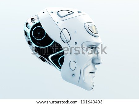 3d Robot head isolated on white / Stylish serious man's head in profile