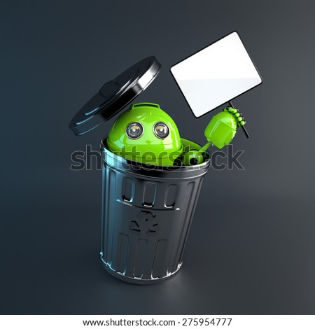 3d Robot inside trash bin. Electronic recycle concept