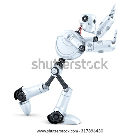 3d Robot pushing an invisible object. Isolated on white background. Contains clipping path - stock photo