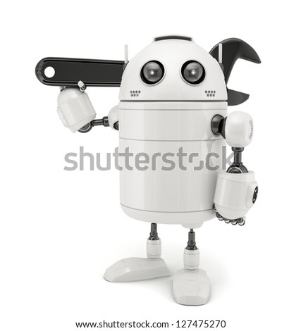 3D Robot with adjustable wrench. Isolated on white background - stock photo
